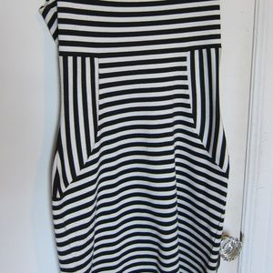 Express Dresses - Striped Fitted Black and White Cocktail Dress